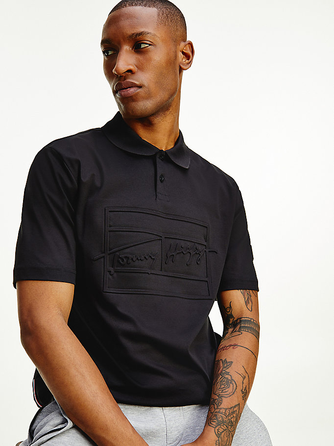 black th signature relaxed polo for men tommy hilfiger