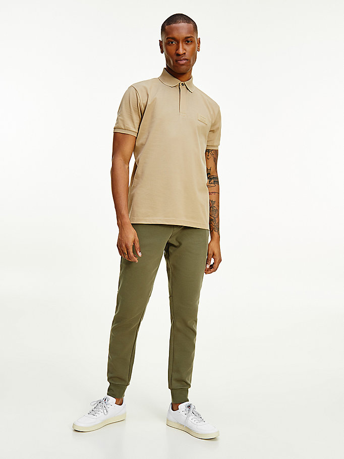 beige th signature half-zip polo for men tommy hilfiger