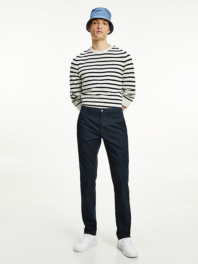 blue denton fitted straight leg trousers for men tommy hilfiger