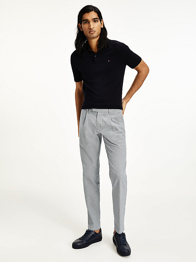 blue tapered bird's eye pattern trousers for men tommy hilfiger