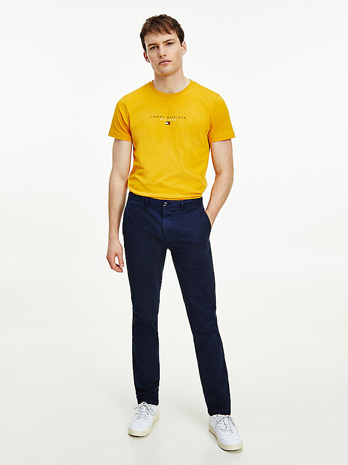 blue bleecker slim garment dyed structured trousers for men tommy hilfiger