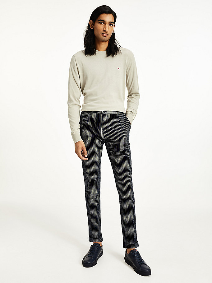pantaloni denton straight fit gessati blu da men tommy hilfiger
