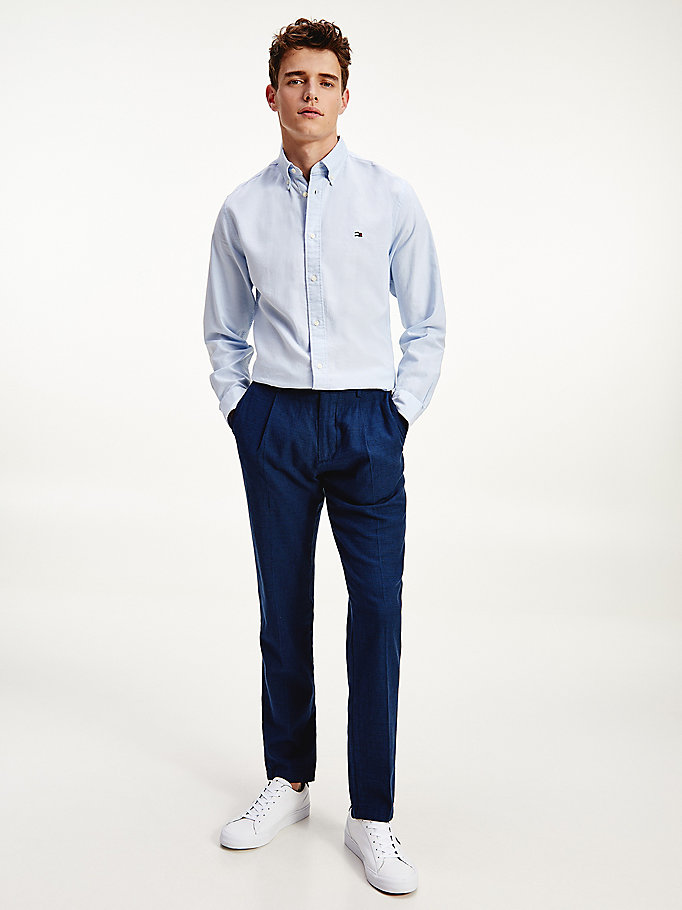blue tapered puppytooth linen blend trousers for men tommy hilfiger