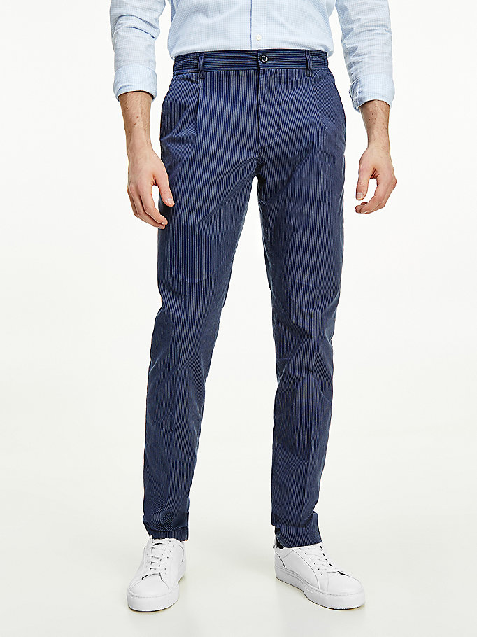 blue denton straight pinstripe trousers for men tommy hilfiger