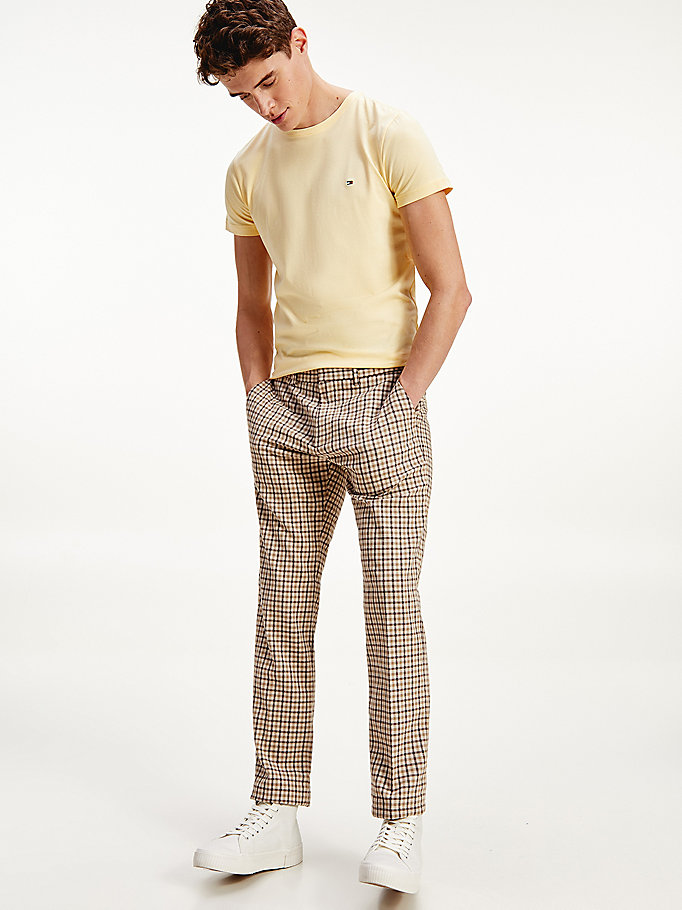 beige denton straight gingham trousers for men tommy hilfiger