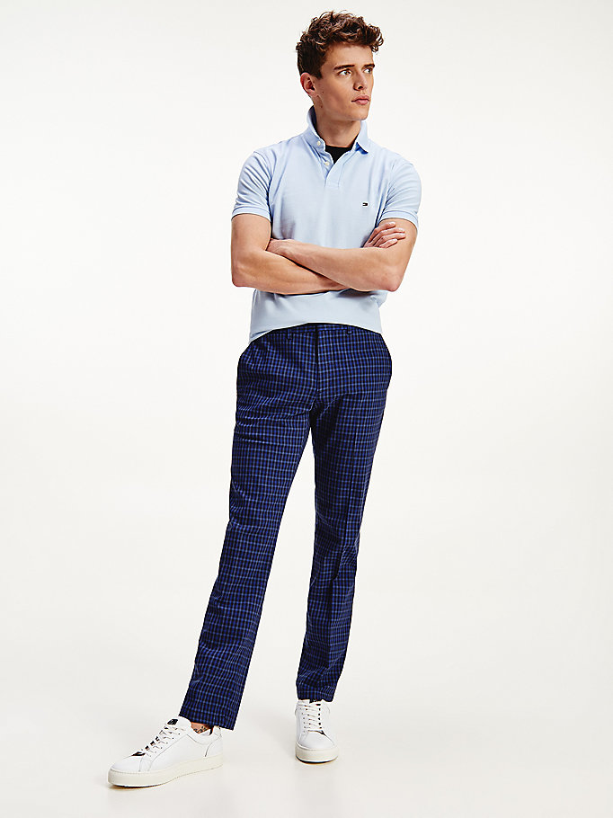 blue denton straight gingham trousers for men tommy hilfiger