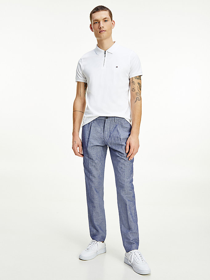 blue tapered chambray trousers for men tommy hilfiger