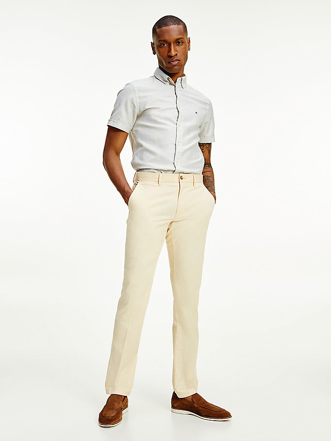 beige denton th flex straight chino voor men - tommy hilfiger