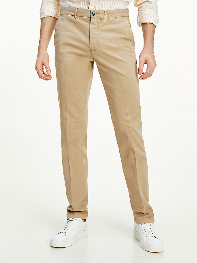 pantaloni denton th flex straight fit beige da uomo tommy hilfiger