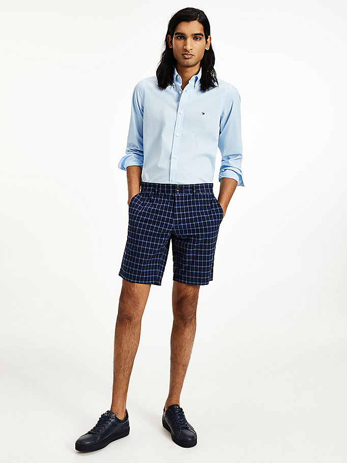 blue brooklyn check shorts for men tommy hilfiger