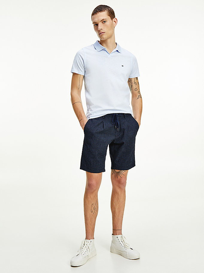 shorts brooklyn in seersucker blu da uomo tommy hilfiger