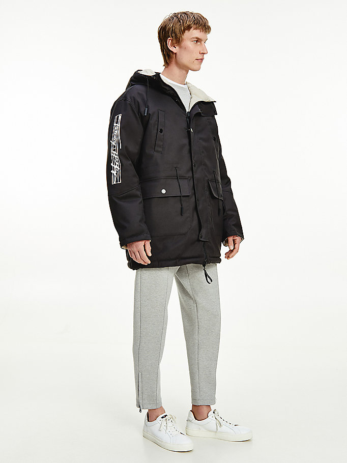 black th signature reversible parka for men tommy hilfiger