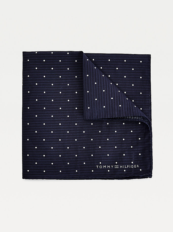 blue silk dot print pocket square for men tommy hilfiger