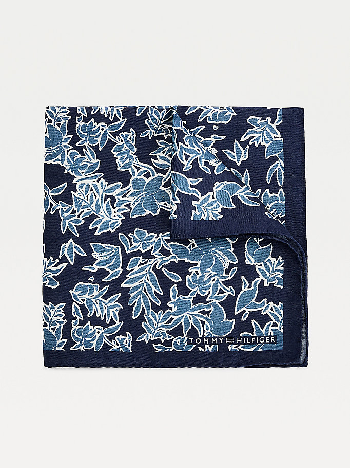 blue silk floral print pocket square for men tommy hilfiger