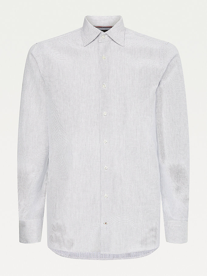blue elevated recycled cotton shirt for men tommy hilfiger