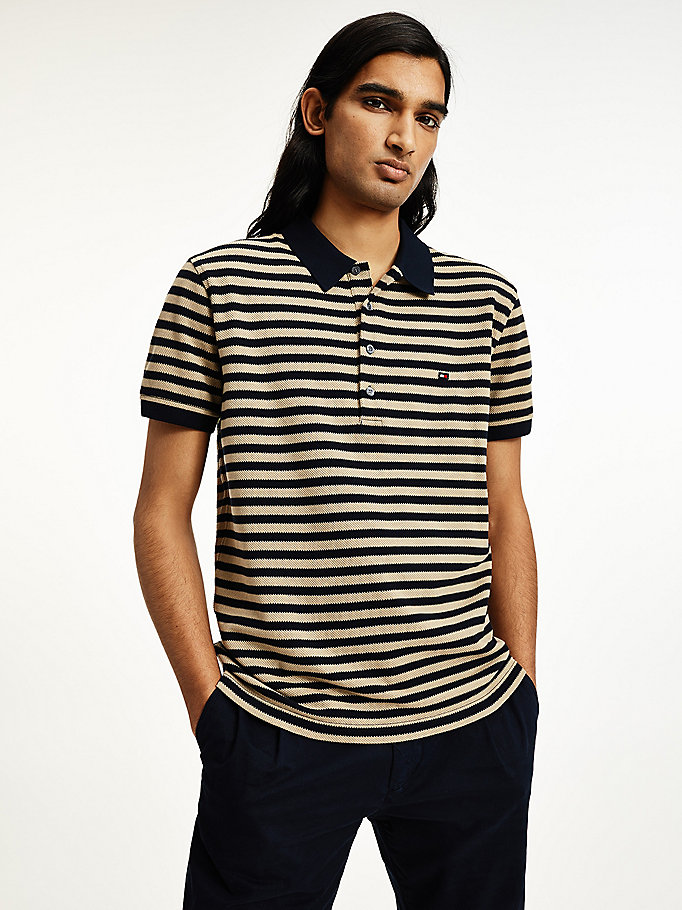 blue elevated stripe pique polo for men tommy hilfiger