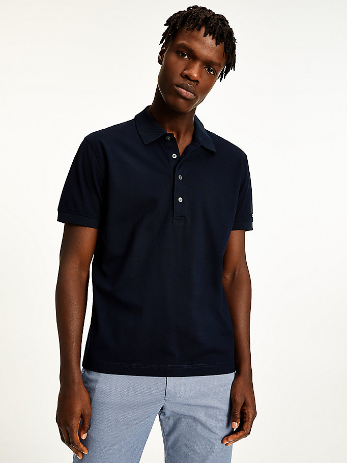 polo regular fit in cotone blu da men tommy hilfiger