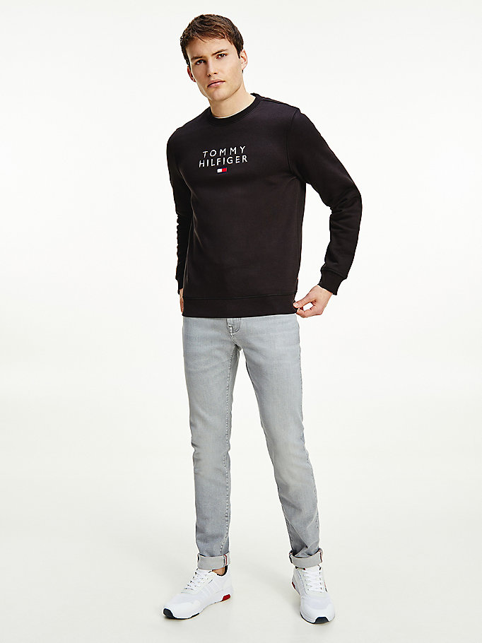 zwart th flex fleece sweatshirt voor men - tommy hilfiger