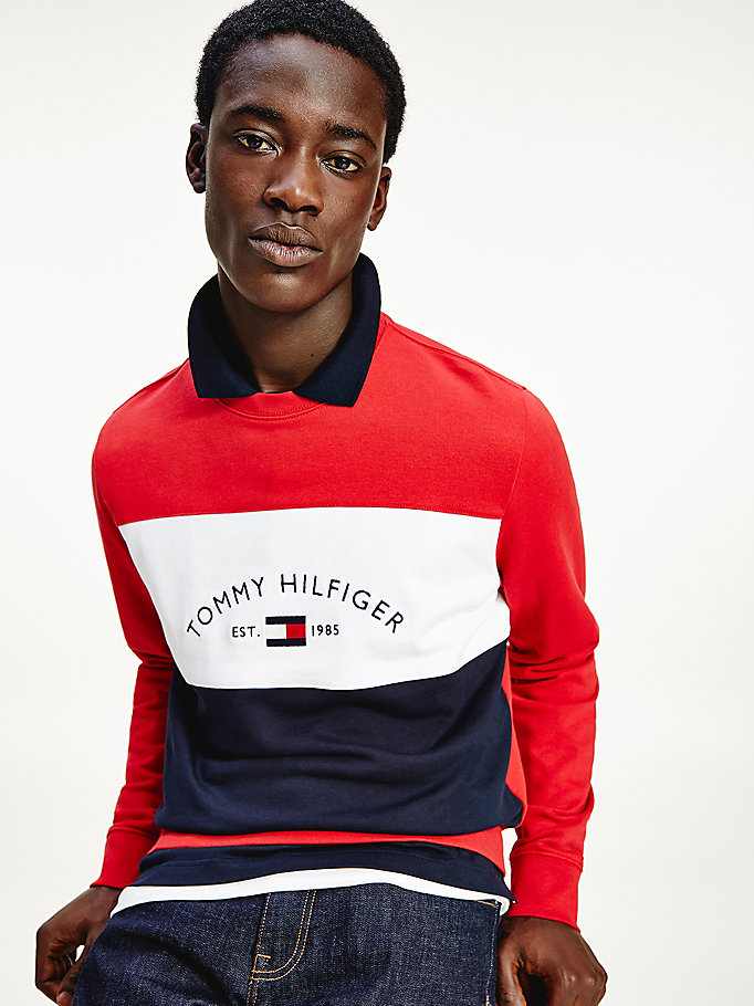 red colour-blocked logo sweatshirt for men tommy hilfiger