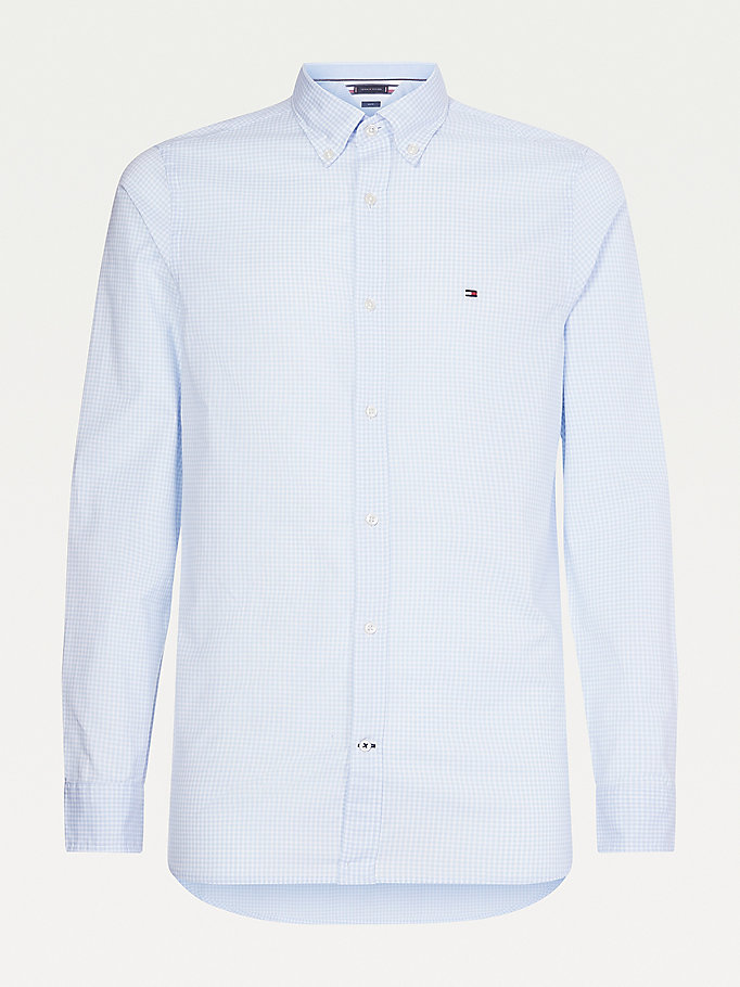 blue gingham check slim fit shirt for men tommy hilfiger