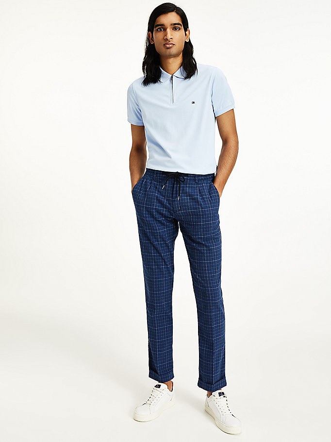blue denton straight checked trousers for men tommy hilfiger