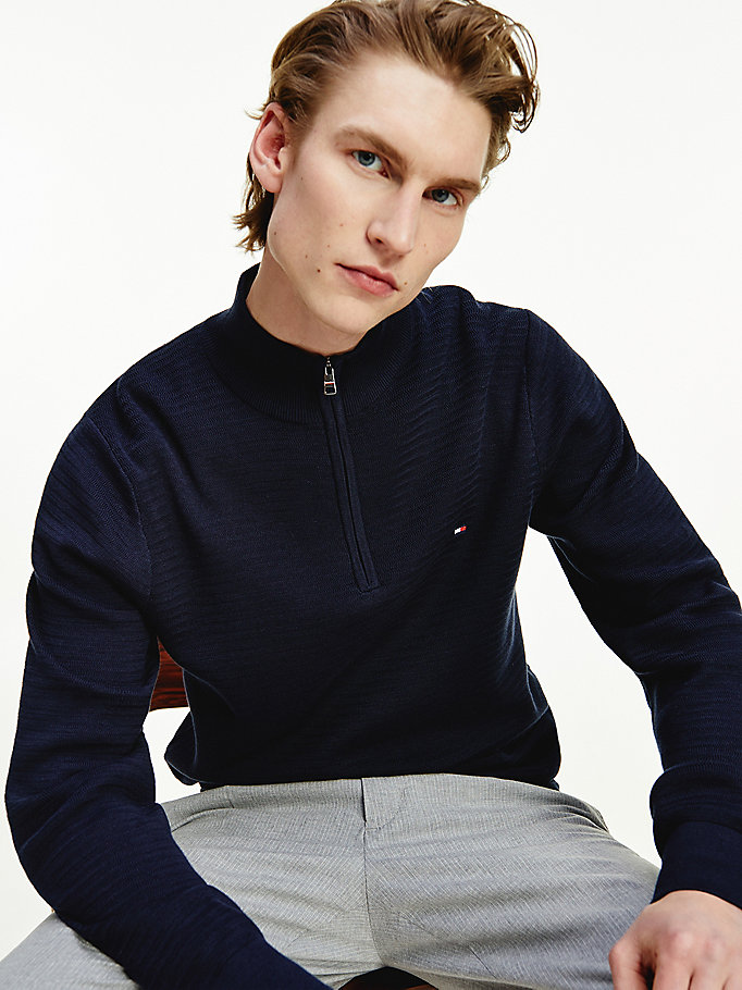 blue fine zig zag zipped neck jumper for men tommy hilfiger