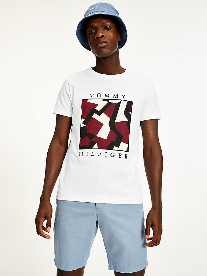 white geo print logo organic cotton t-shirt for men tommy hilfiger