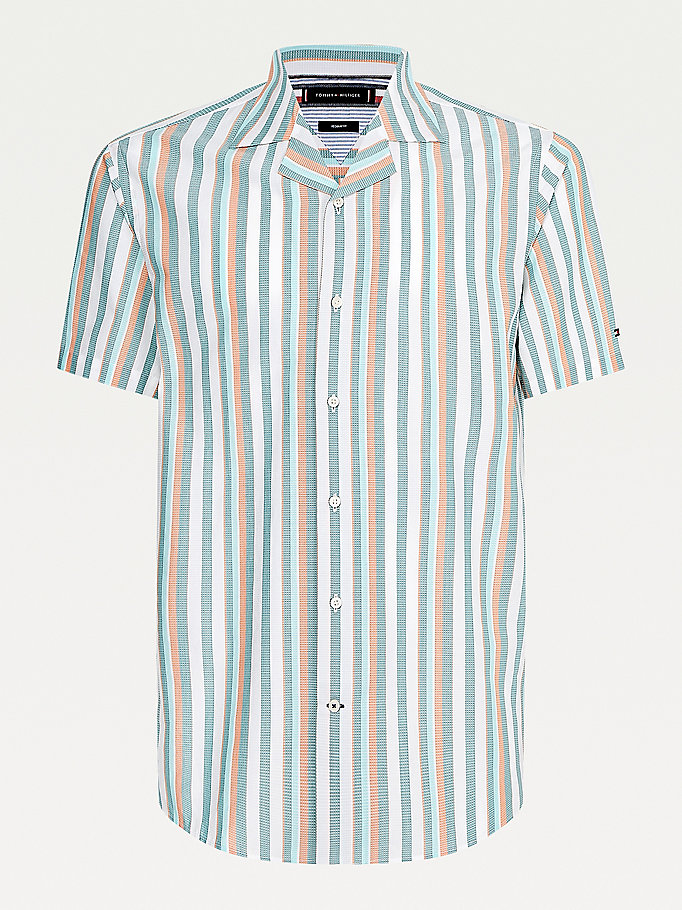 green stripe organic cotton short sleeve shirt for men tommy hilfiger