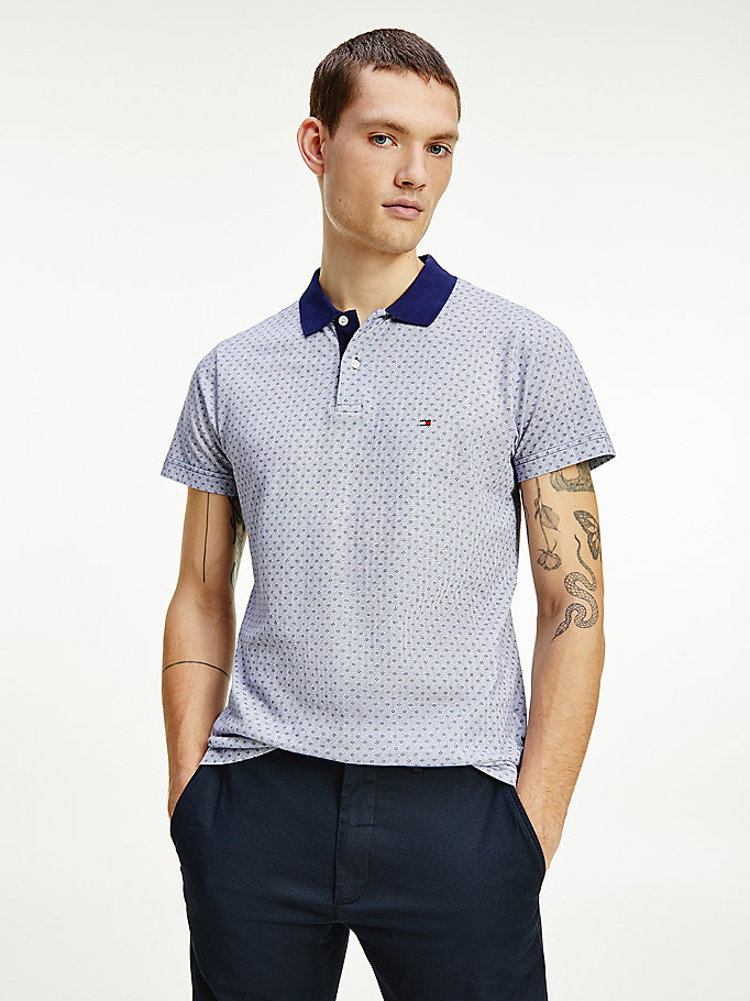 blue micro print slim fit polo for men tommy hilfiger