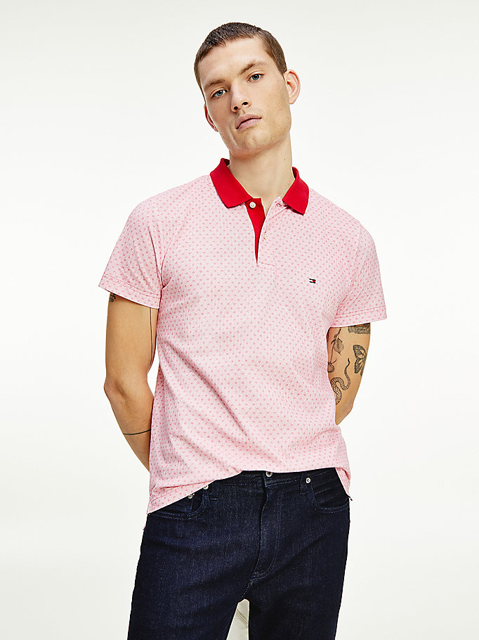 red micro print slim fit polo for men tommy hilfiger