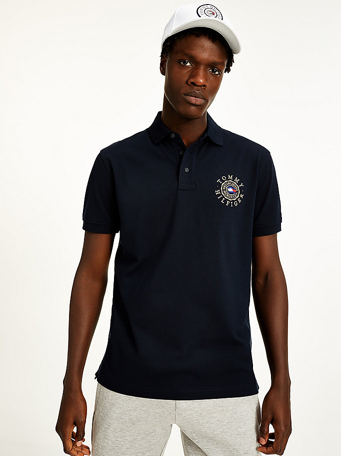 blue tommy icons logo embroidery polo for men tommy hilfiger