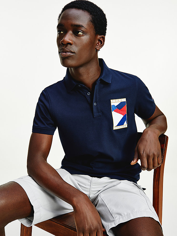 blue tommy icons slim fit polo for men tommy hilfiger