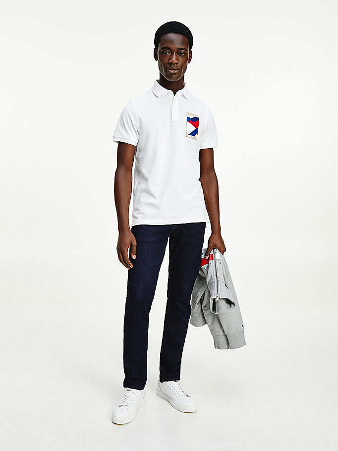 white tommy icons slim fit polo for men tommy hilfiger