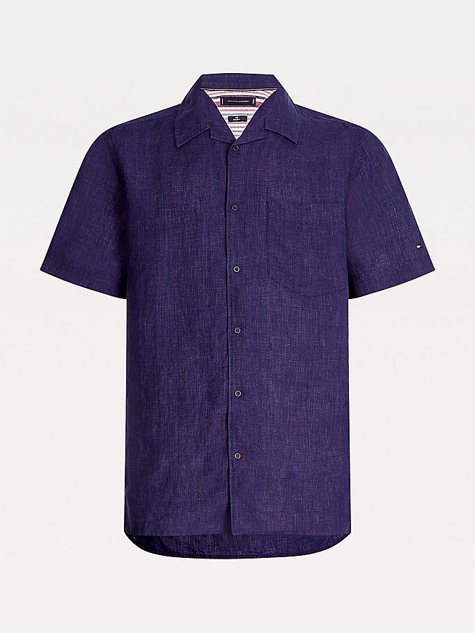 blue camp collar linen shirt for men tommy hilfiger