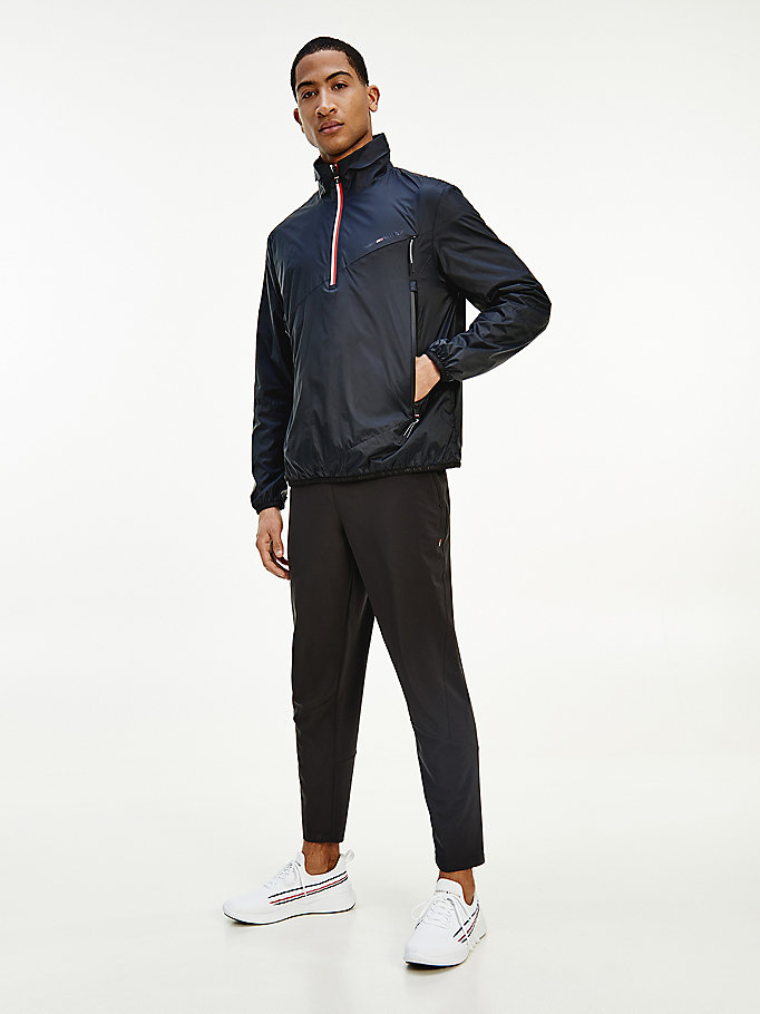 black sport half-zip hooded anorak for men tommy hilfiger