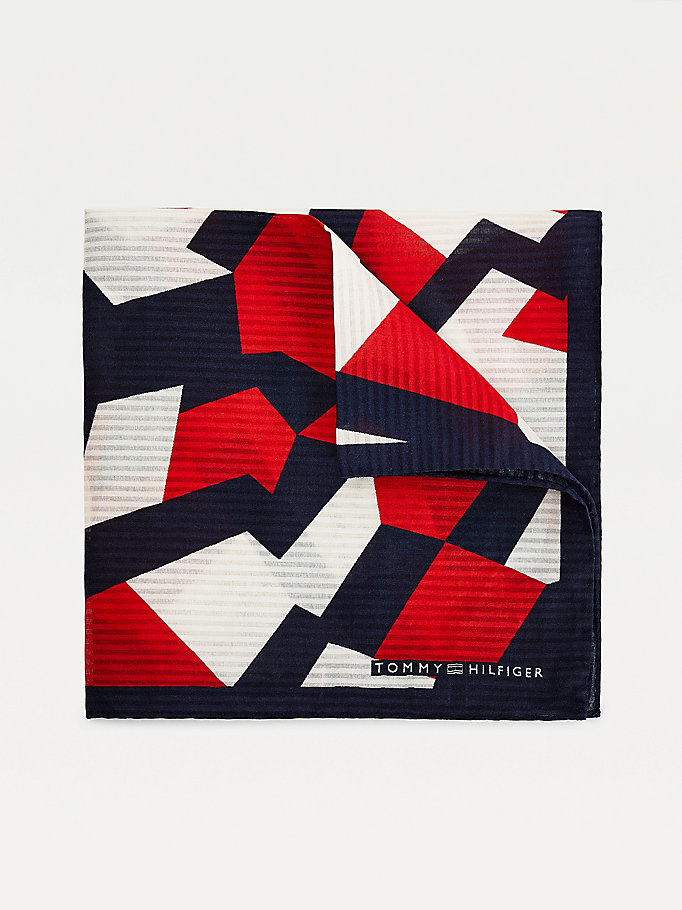 blue geo print silk pocket square for men tommy hilfiger