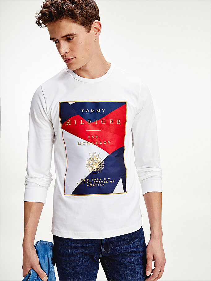 white tommy icons long sleeve t-shirt for men tommy hilfiger