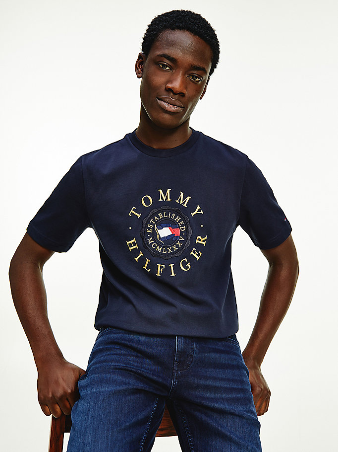 blue tommy icons organic cotton jersey t-shirt for men tommy hilfiger