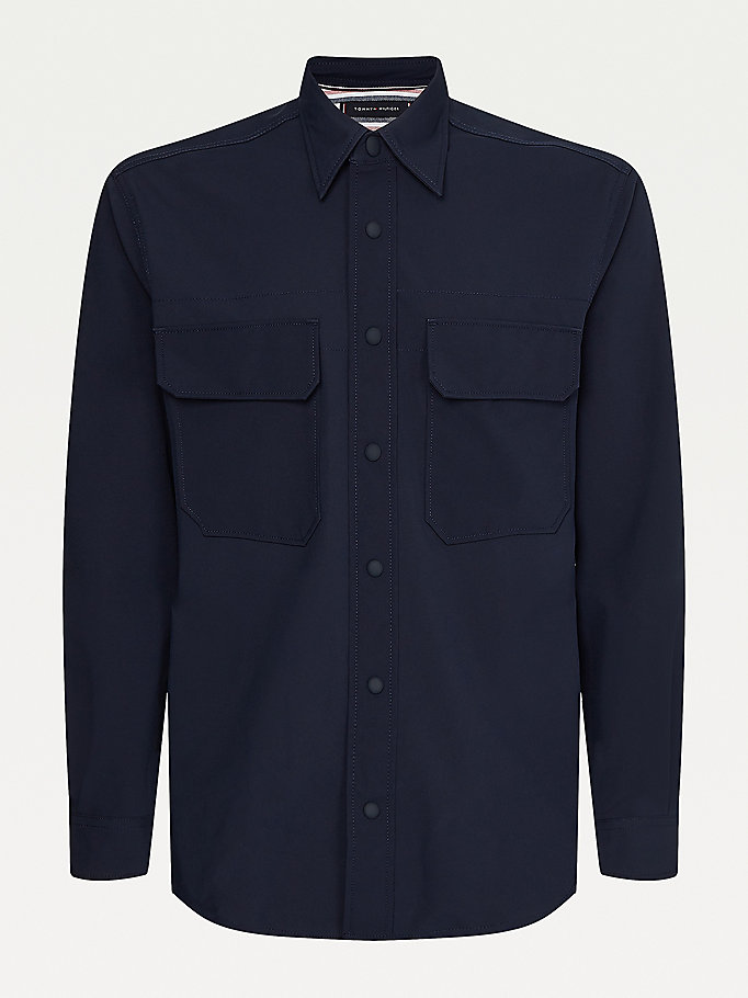 blue flap pocket relaxed overshirt for men tommy hilfiger