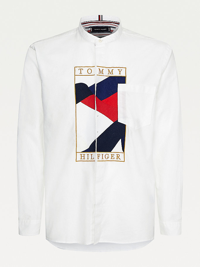white tommy icons mandarin collar relaxed shirt for men tommy hilfiger