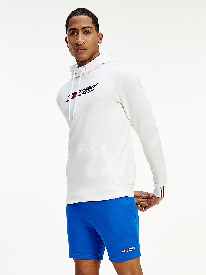 white sport th cool hoody for men tommy hilfiger