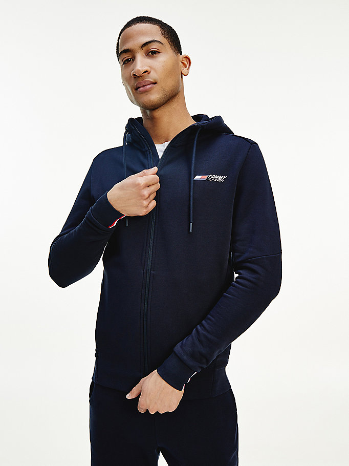blue sport th cool zip-thru hoody for men tommy hilfiger