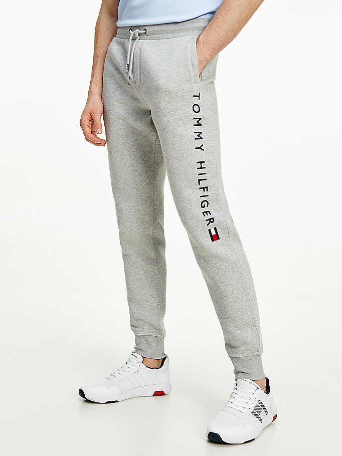 grey logo leg fleece joggers for men tommy hilfiger