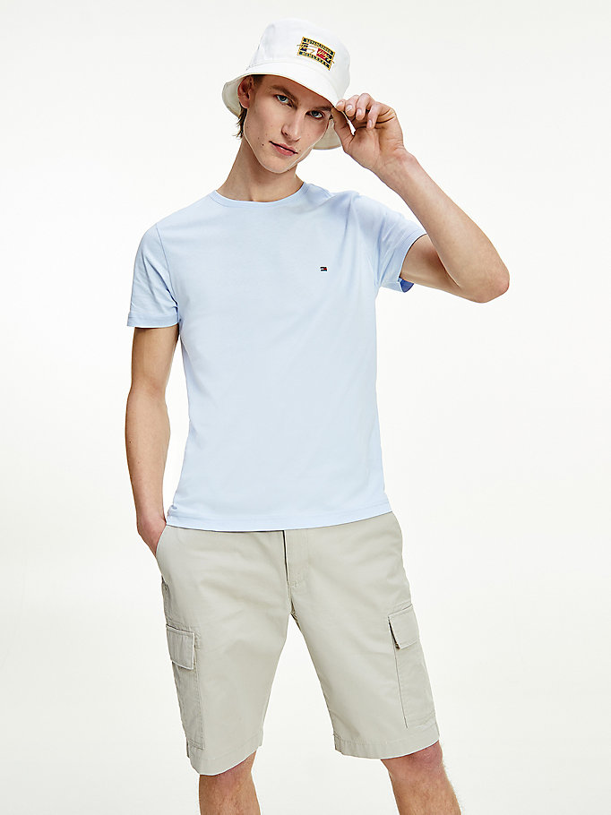 blue essential organic cotton jersey t-shirt for men tommy hilfiger