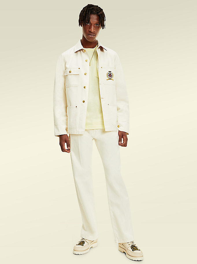 white crest embroidery denim jacket for men tommy hilfiger