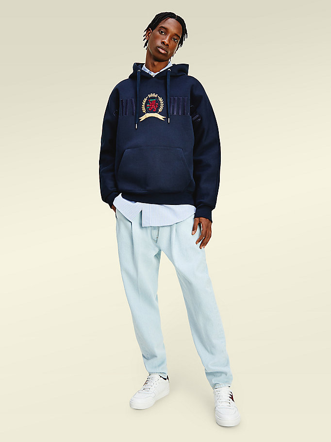 blue crest embroidery jersey hoody for men tommy hilfiger