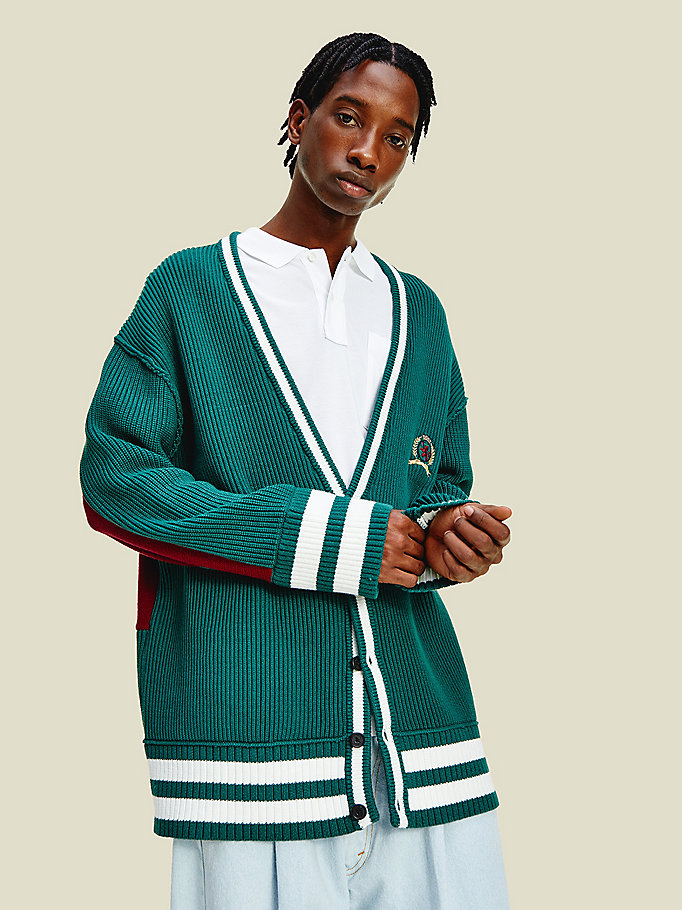 green crest college cardigan for men tommy hilfiger