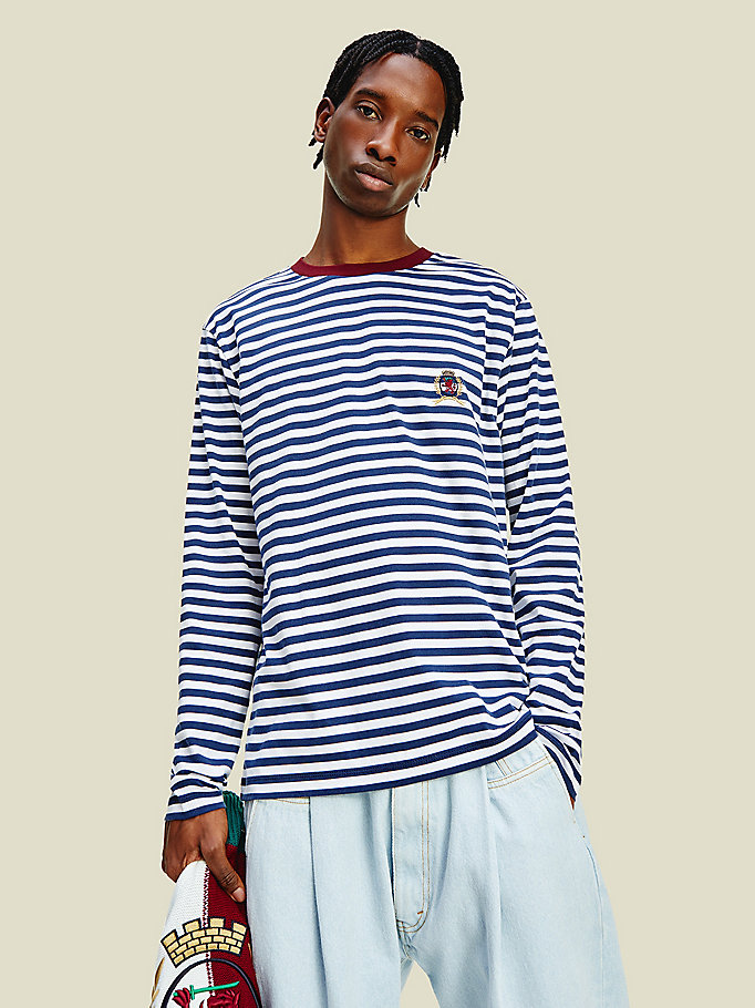 white crest stripe long sleeve t-shirt for men tommy hilfiger