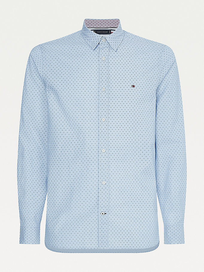 blue plus micro square print shirt for men tommy hilfiger
