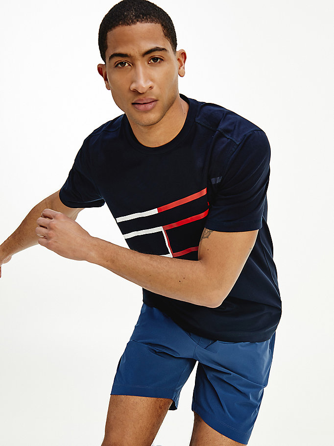 blue sport th cool abstract print t-shirt for men tommy hilfiger